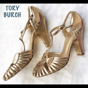 TORY BURCH Gold T-Strap Heeled Sandals 9.5
